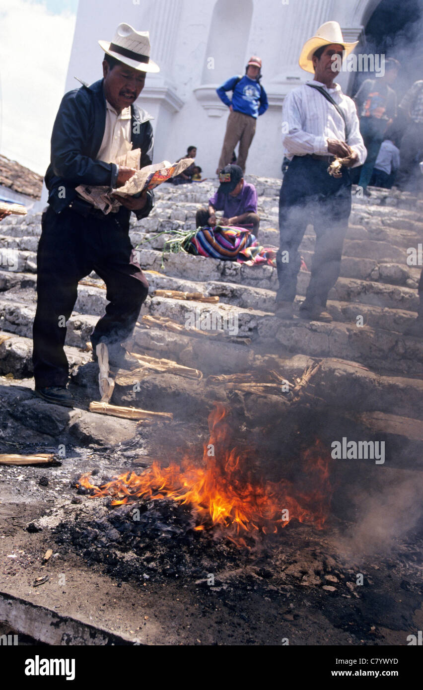 Guatemala, Chichicastenango, mayan ceremonies Stock Photo