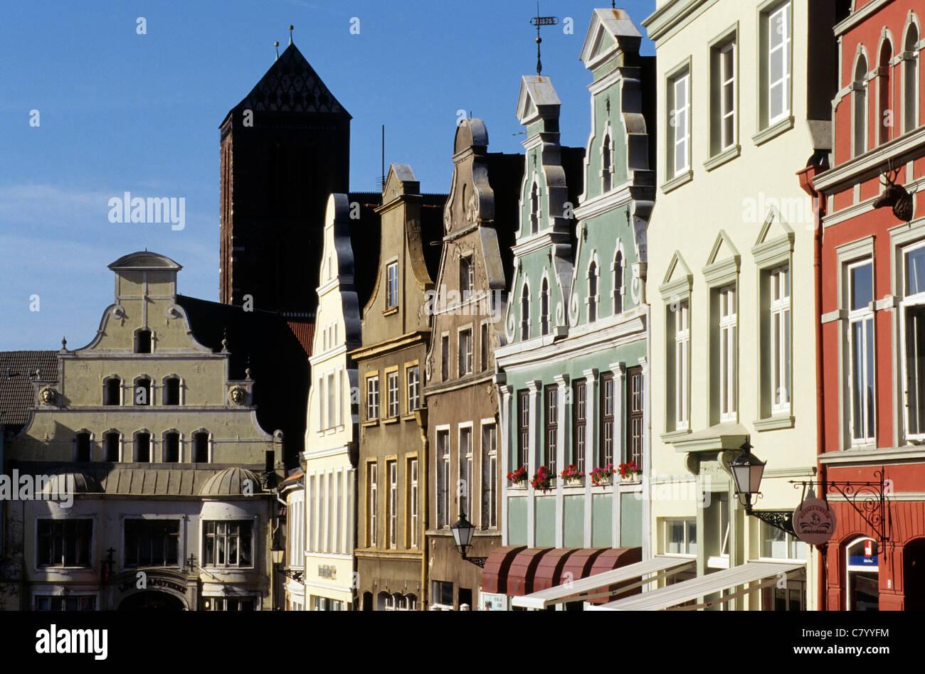 Germany, Mecklenburg-Western Pomerania, Wismar, Kramerstrasse - Stock Image