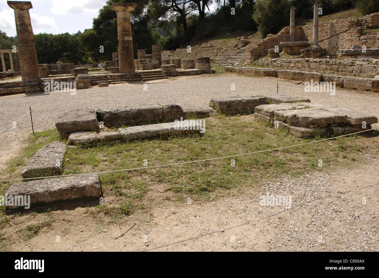 Greek Art. Altar of Hera. Is the location where the Olympic flame is lit the Olympic games. Olympia. Greece. - Stock Image