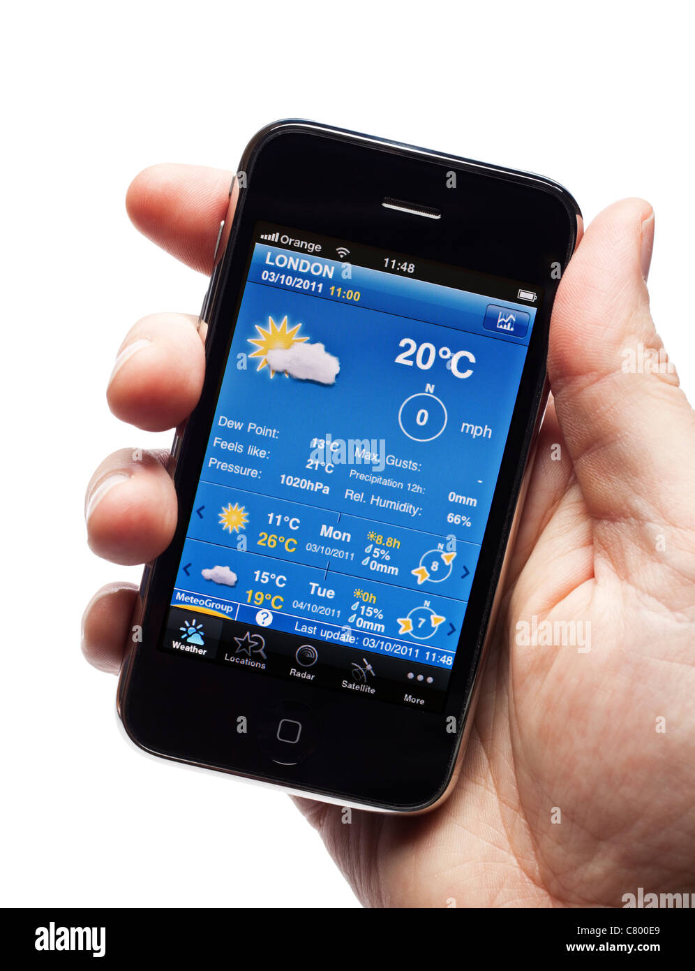 Weather forecast app on a smartphone smart phone mobile phone - Stock Image