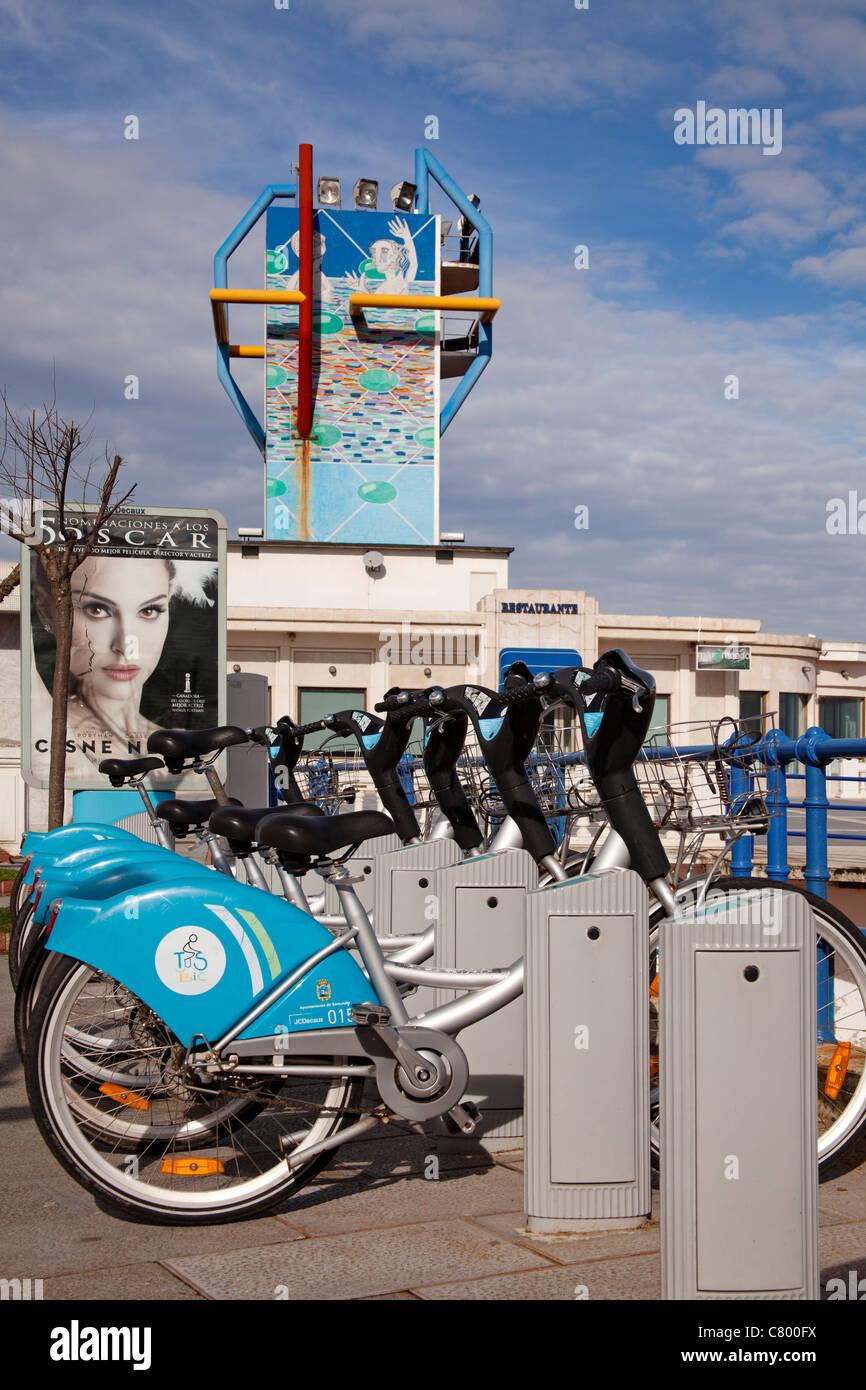 Bicycle Rental Santander Cantabria Spain - Stock Image