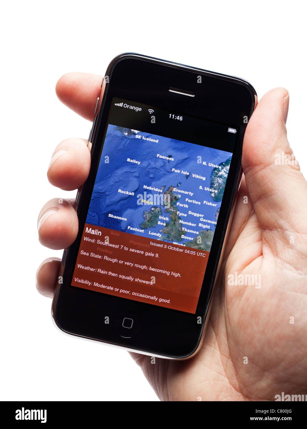 Shipping forecast application on a smartphone smart phone mobile phone - Stock Image