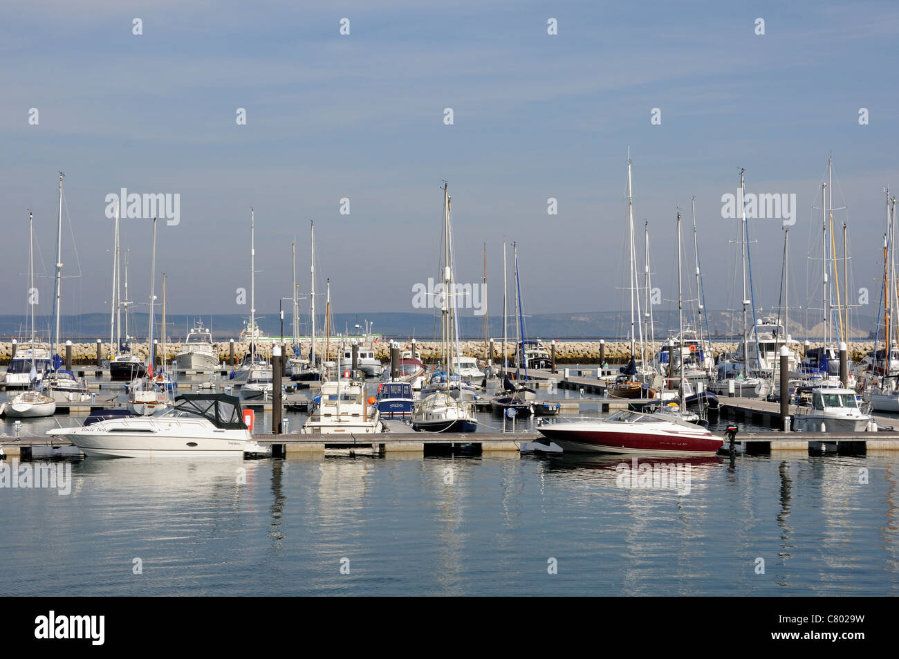 Portland Marina Dorset England where Dean & Reddyhoff the marine operator will have to vacate boats to make - Stock Image