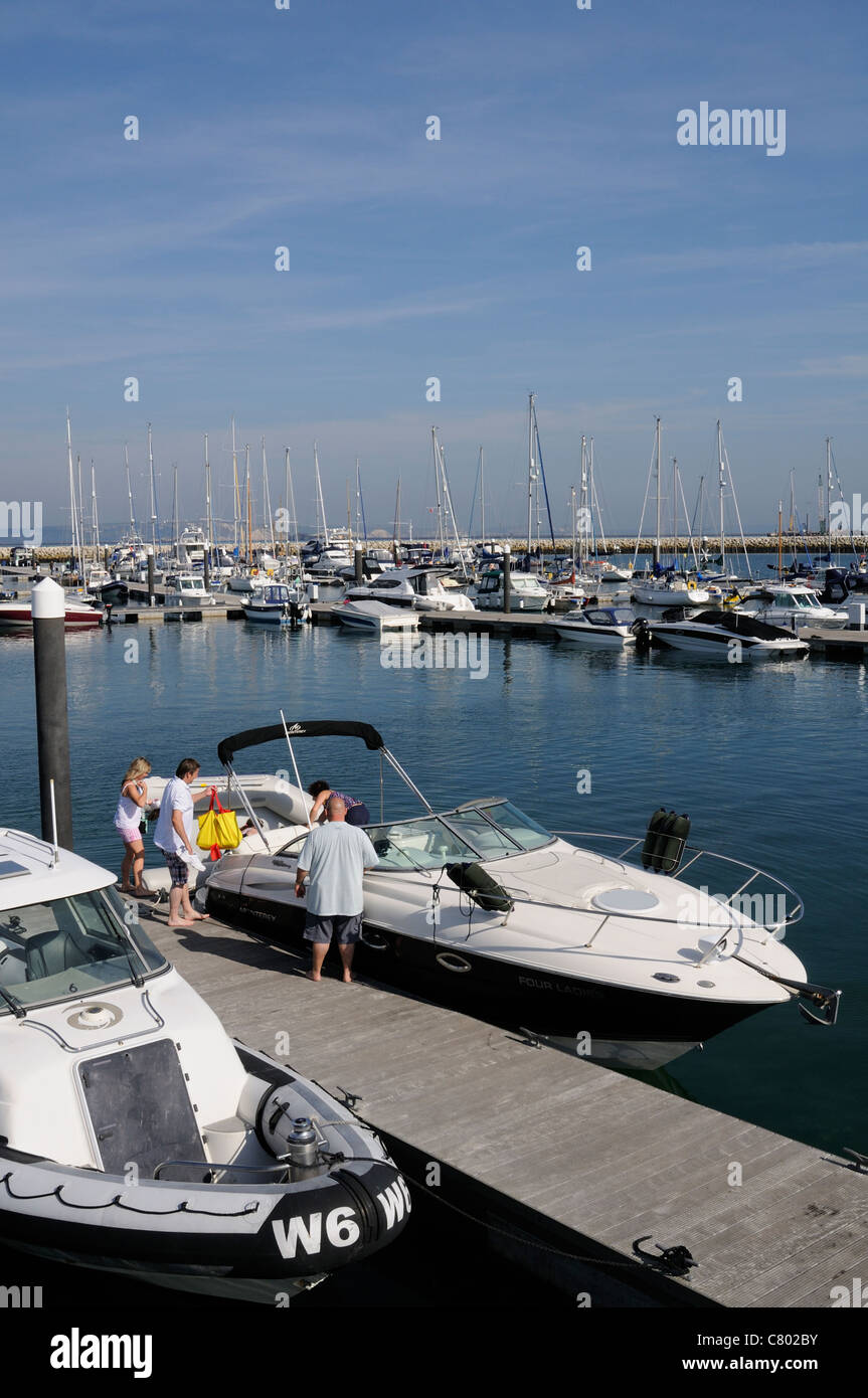 Portland Marina Dorset England where Dean & Reddyhoff the marine operator will have to vacate to make way for - Stock Image
