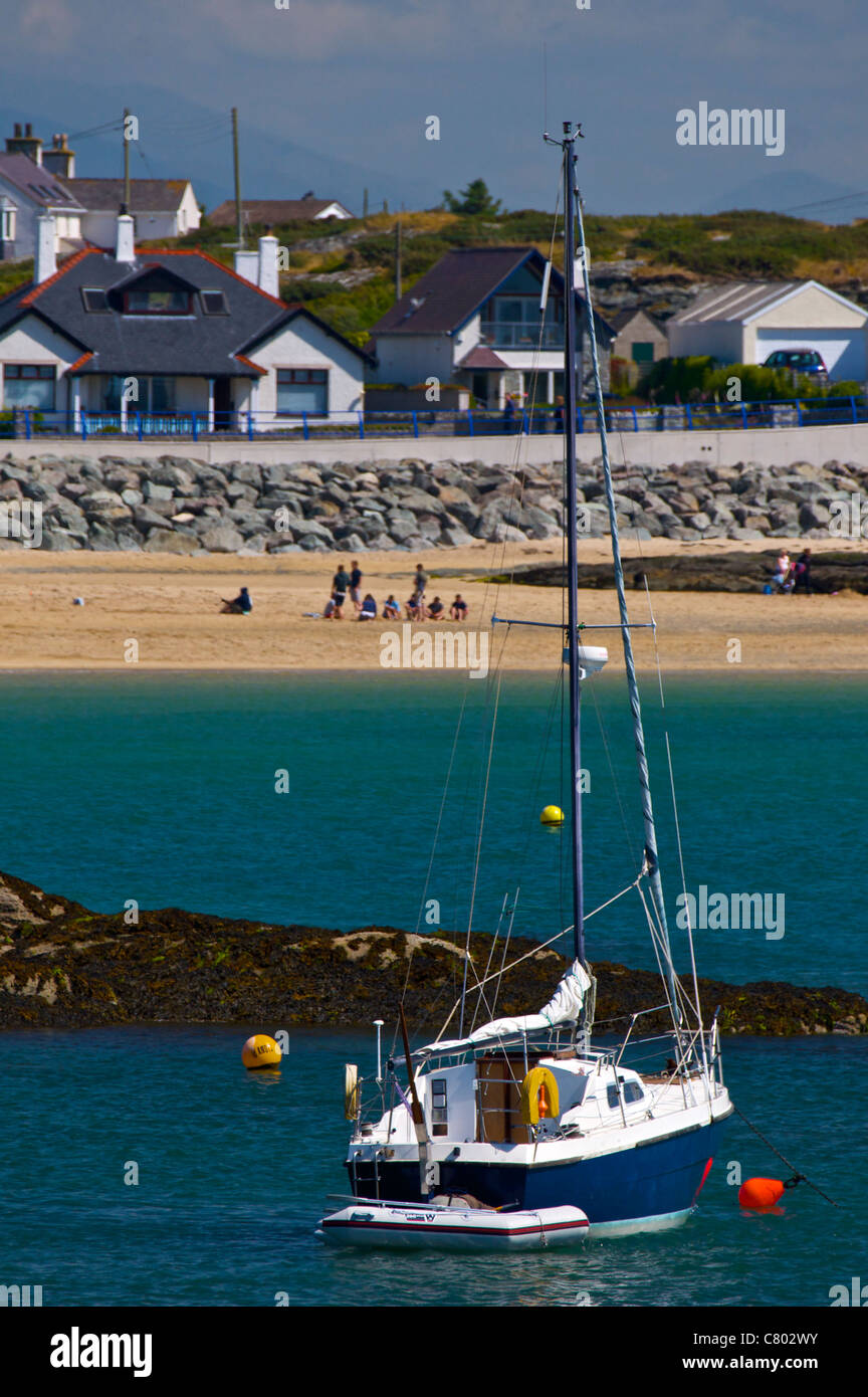 A Boat on Trearddur Bay, Anglesey - Stock Image