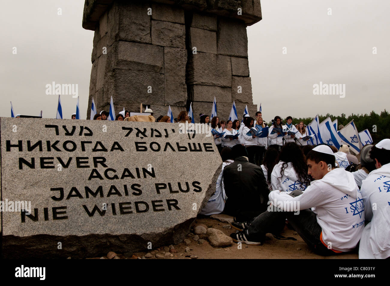 Israeli high-school students attending a memorial ceremony at Treblinka extermination camp - Stock Image