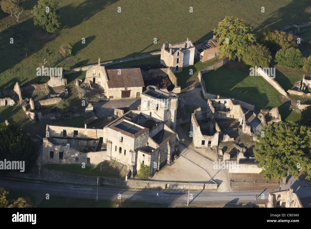 ORADOUR-SUR-GLANE (aerial view). Site of a WWII massacre; German soldiers killed all 642 inhabitants, including - Stock Image