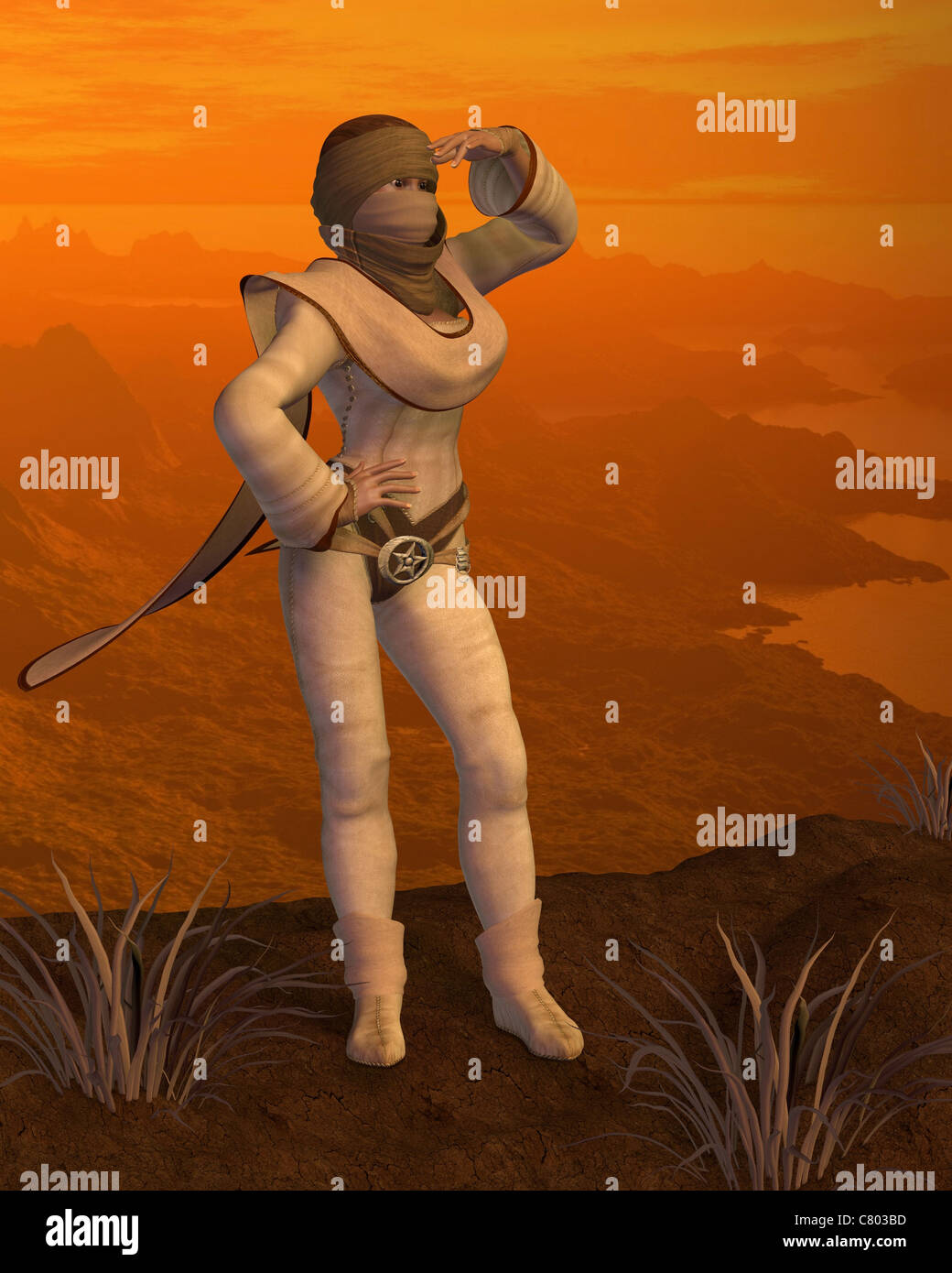 Nomad woman on a Desert Mountain - Stock Image