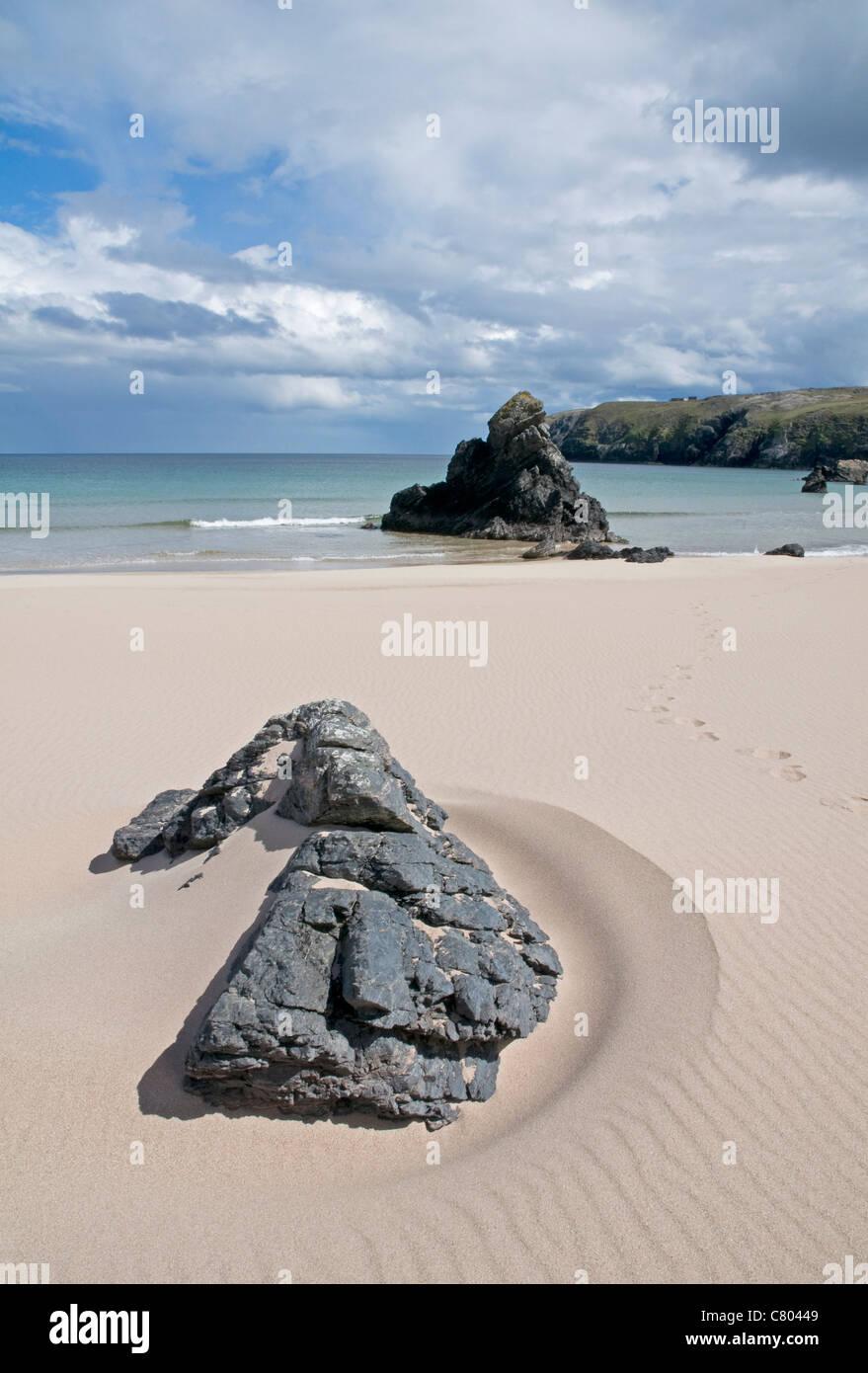 Idyllic deserted sandy beach at Sango Bay in the far north of Scotland - Stock Image