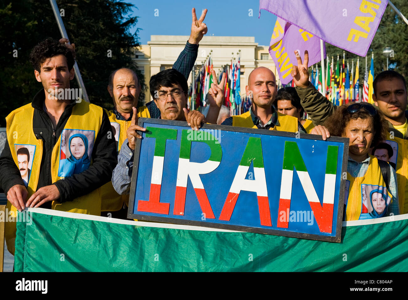 Sit-in iranian people in front of United Nations, Geneva, Switzerland - Stock Image