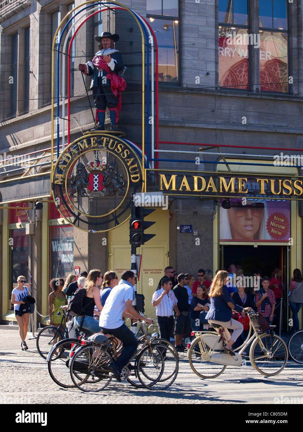 Madame Tussaud on Dam square, Amsterdam, the Netherlands, with many tourists. - Stock Image