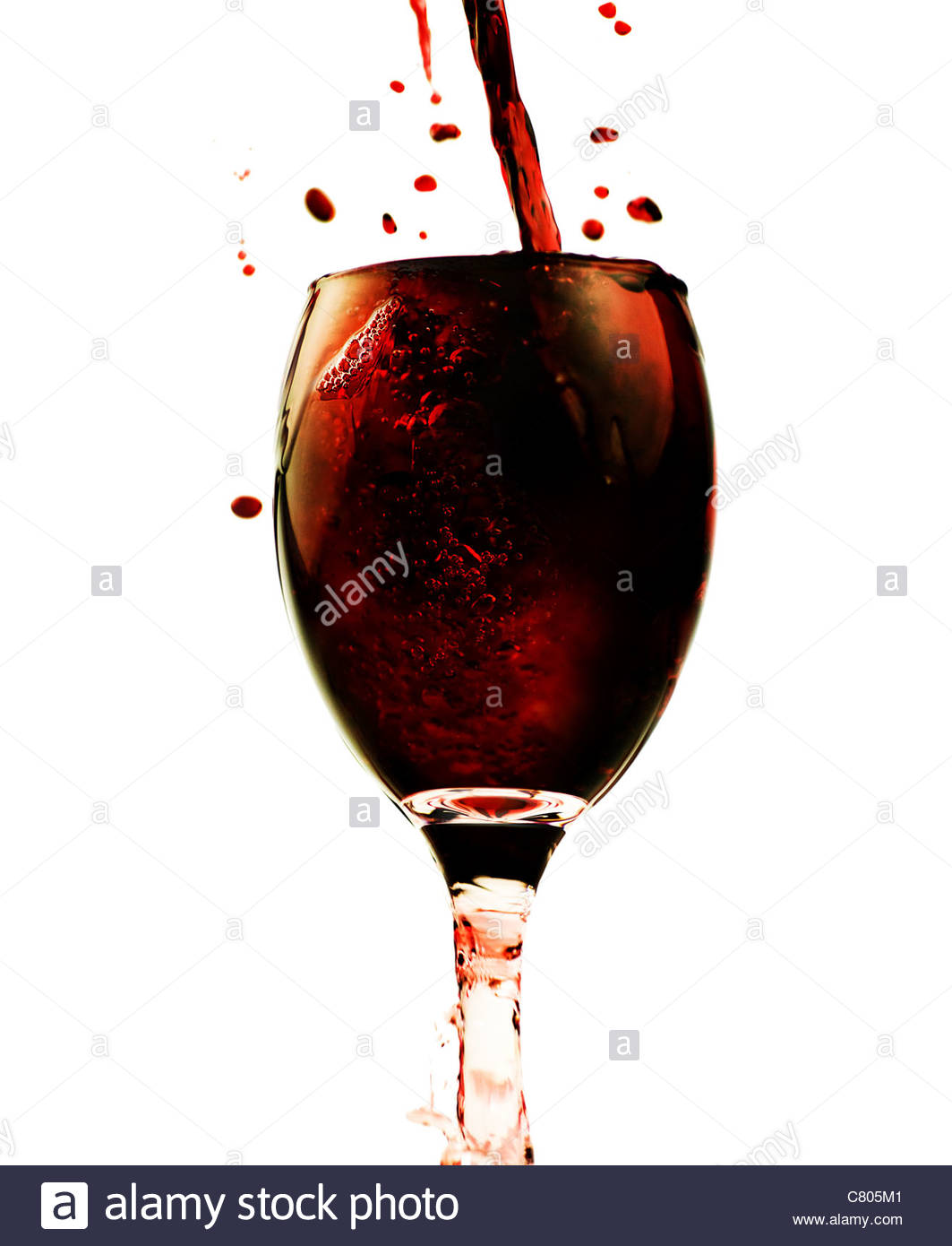 red wine splash - Stock Image