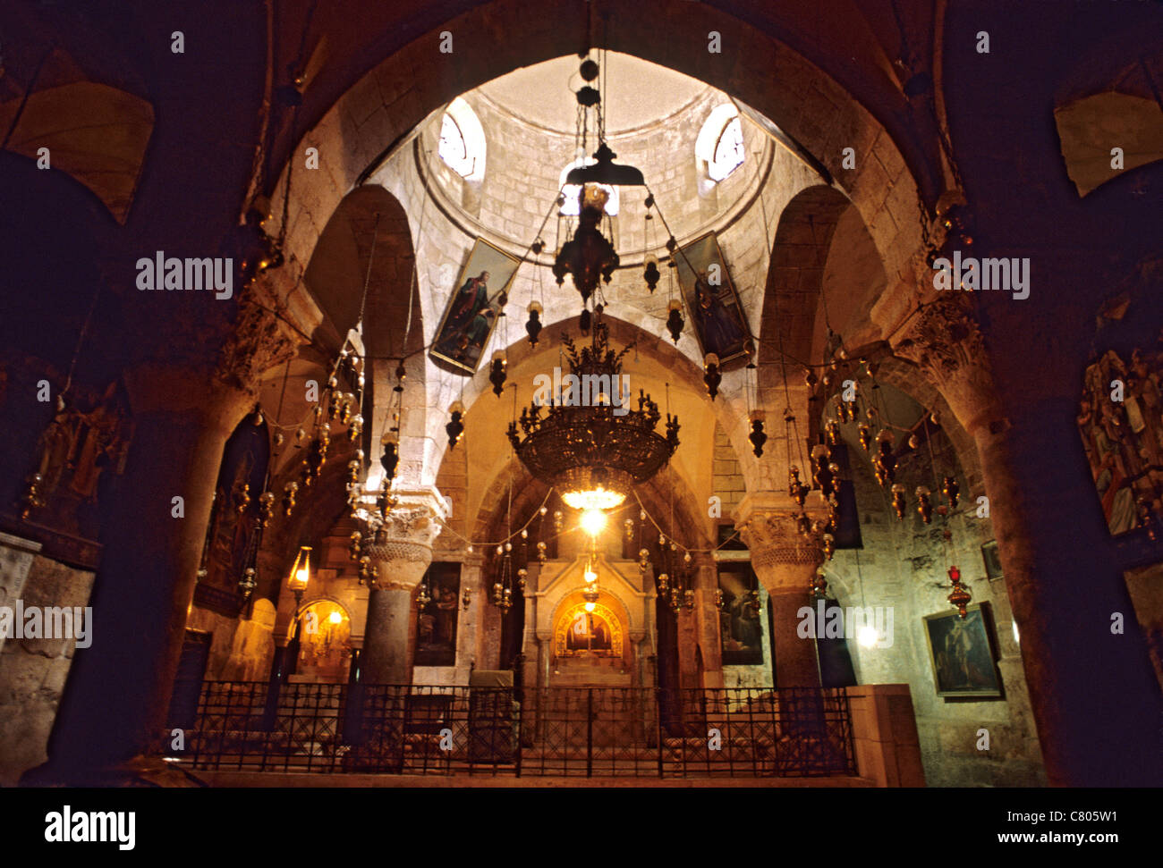 Israel, Jerusalem, Church of the Holy Sepulchre, the interior - Stock Image