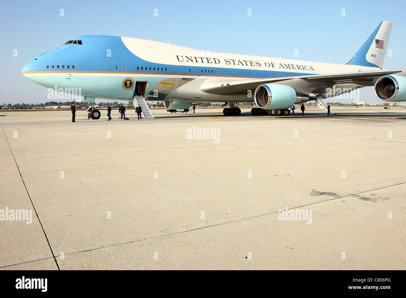 AIR FORCE ONE US PRESIDENT BARACK OBAMA LANDS AT LAX LOS ANGELES CALIFORNIA USA 26 September 2011 - Stock Image