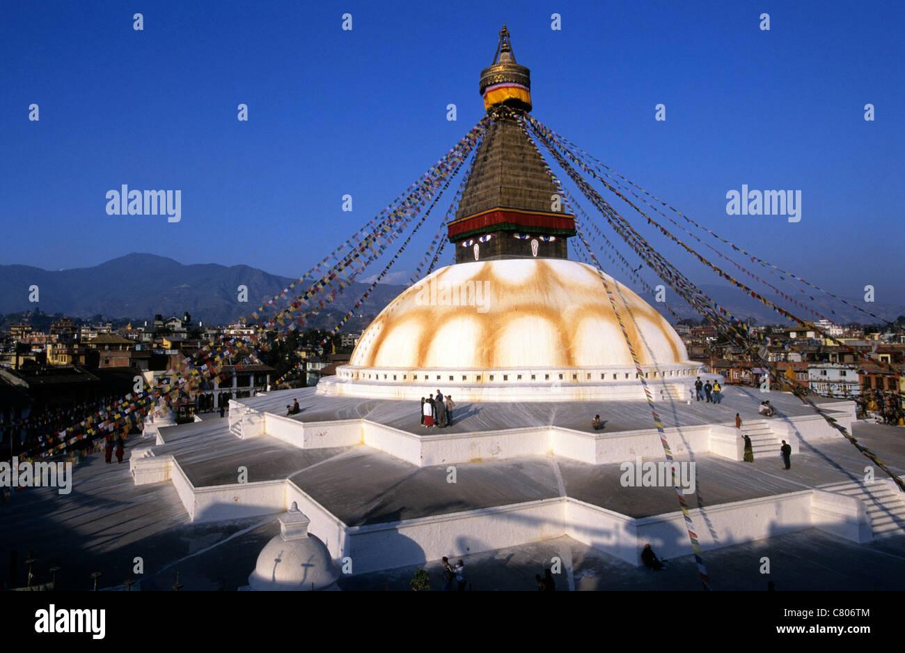 Nepal, Katmandu,the Boudanath stupa - Stock Image