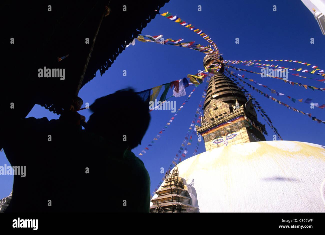 Nepal, Katmandu, Swayambhunath Stupa - Stock Image