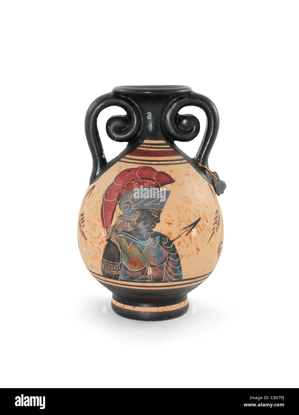 Ancient Greek vase isolated on white background - Stock Image