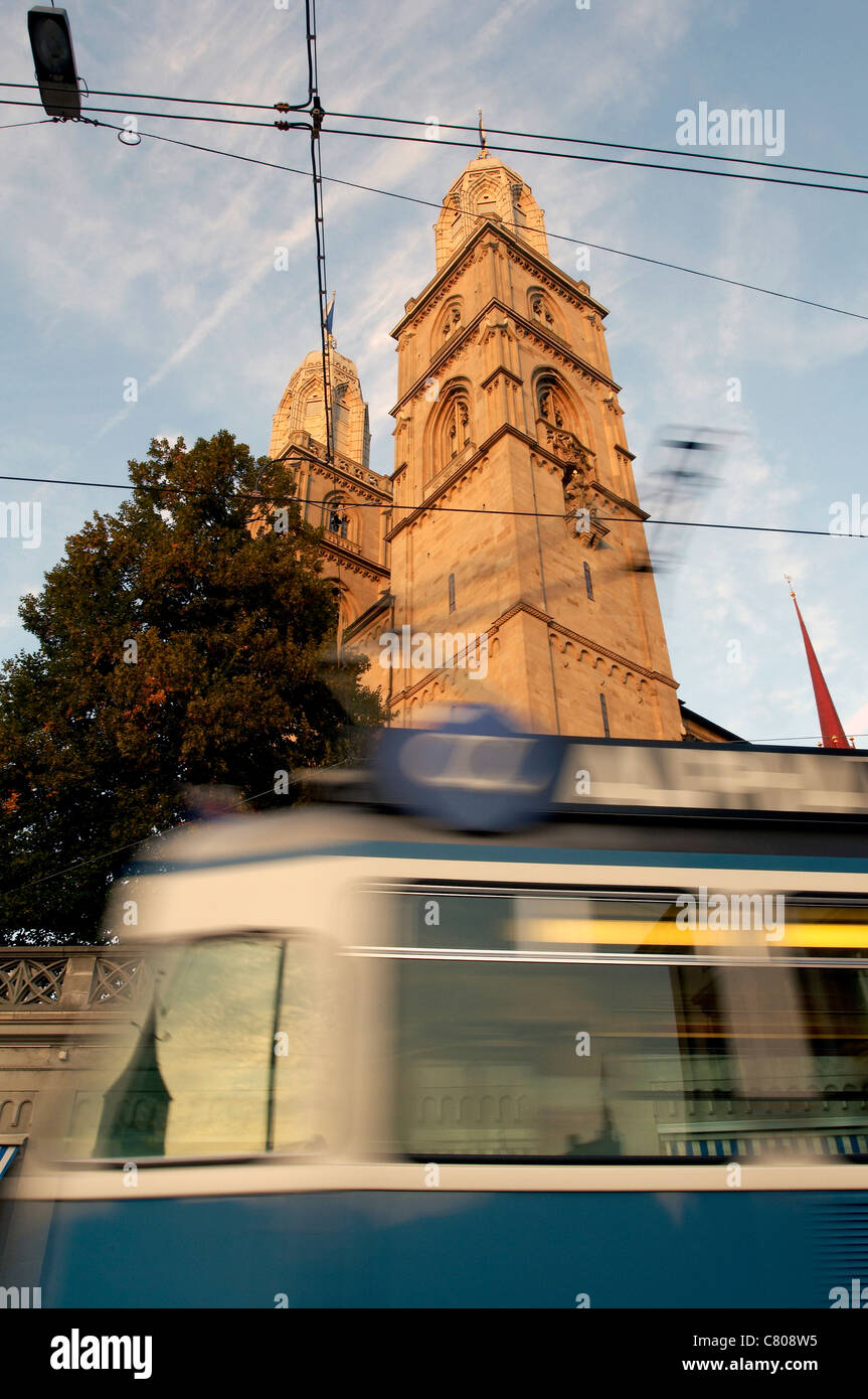 Switzerland, Zurich, tramway in front of Grossmunster church - Stock Image