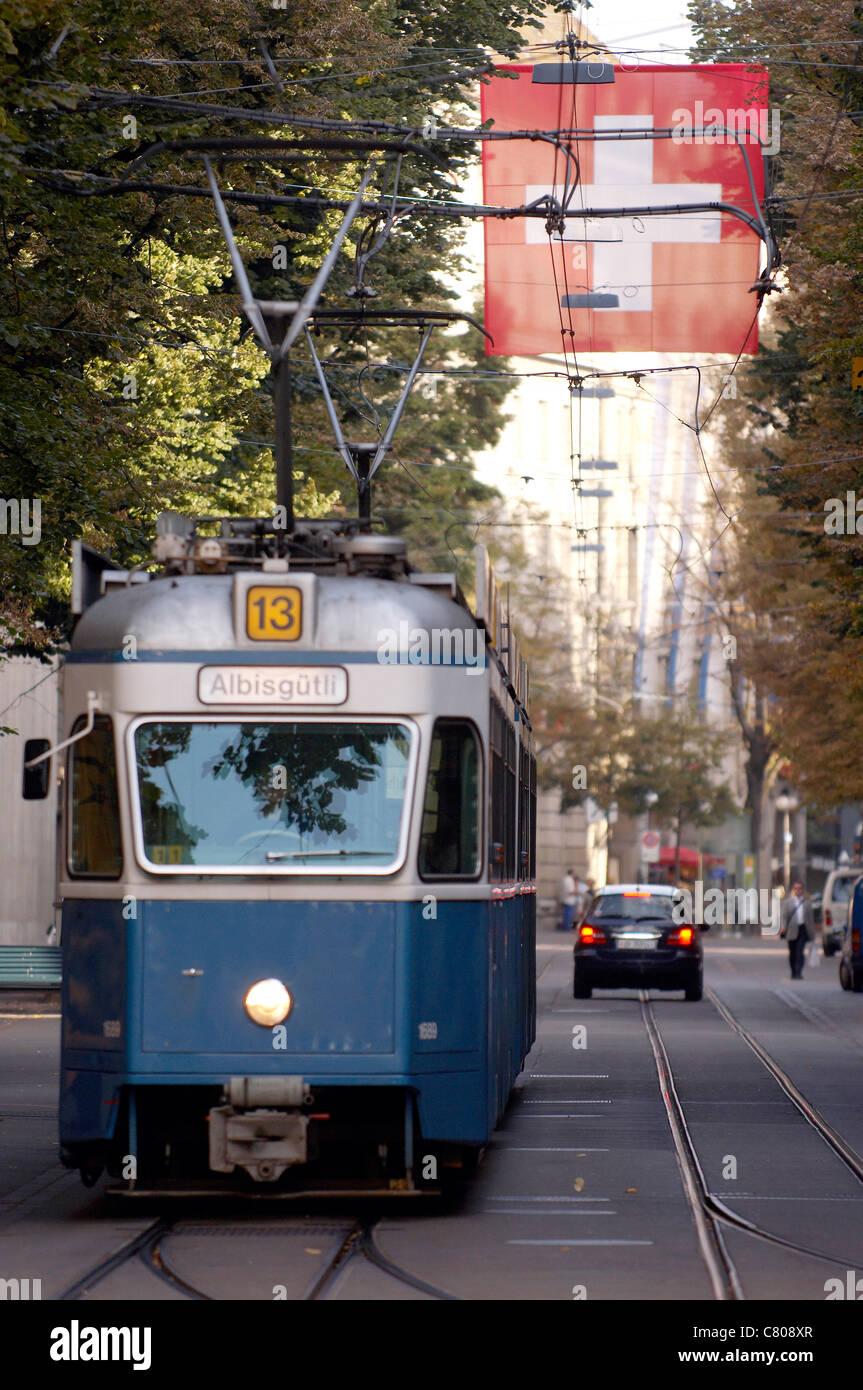 Switzerland, Zurich, tramway on Banhof strasse - Stock Image