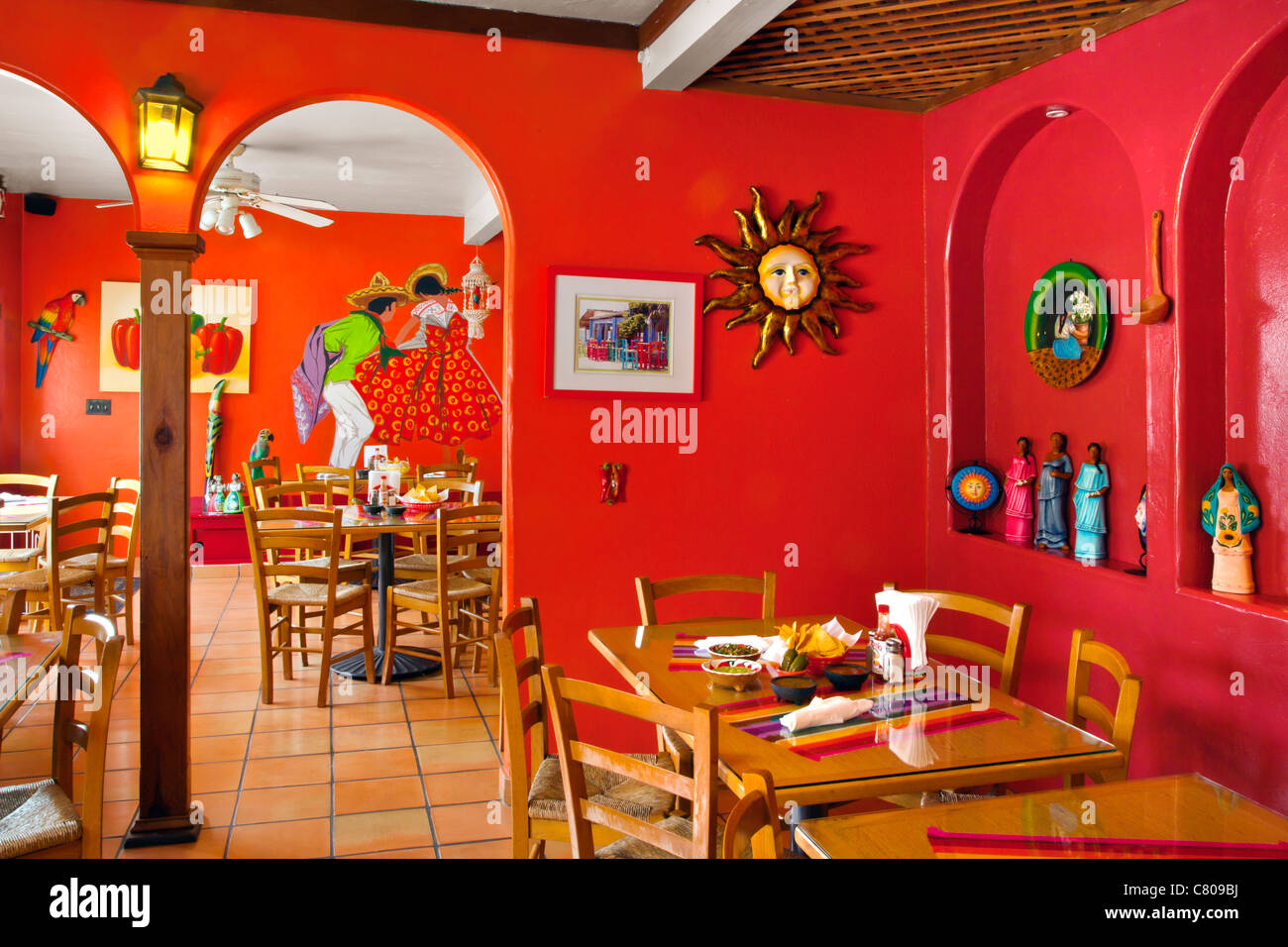 Mexican restaurant interior stock photo alamy