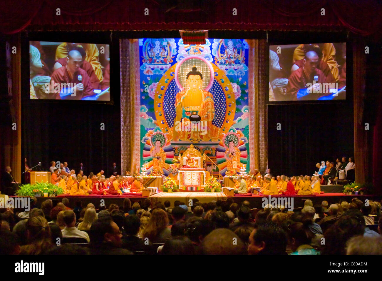 The 14th DALAI LAMA of Tibet teaches Buddhism sponsored by the TIBETAN MONGOLIAN CULTURAL CENTER - BLOOMINGTON, - Stock Image