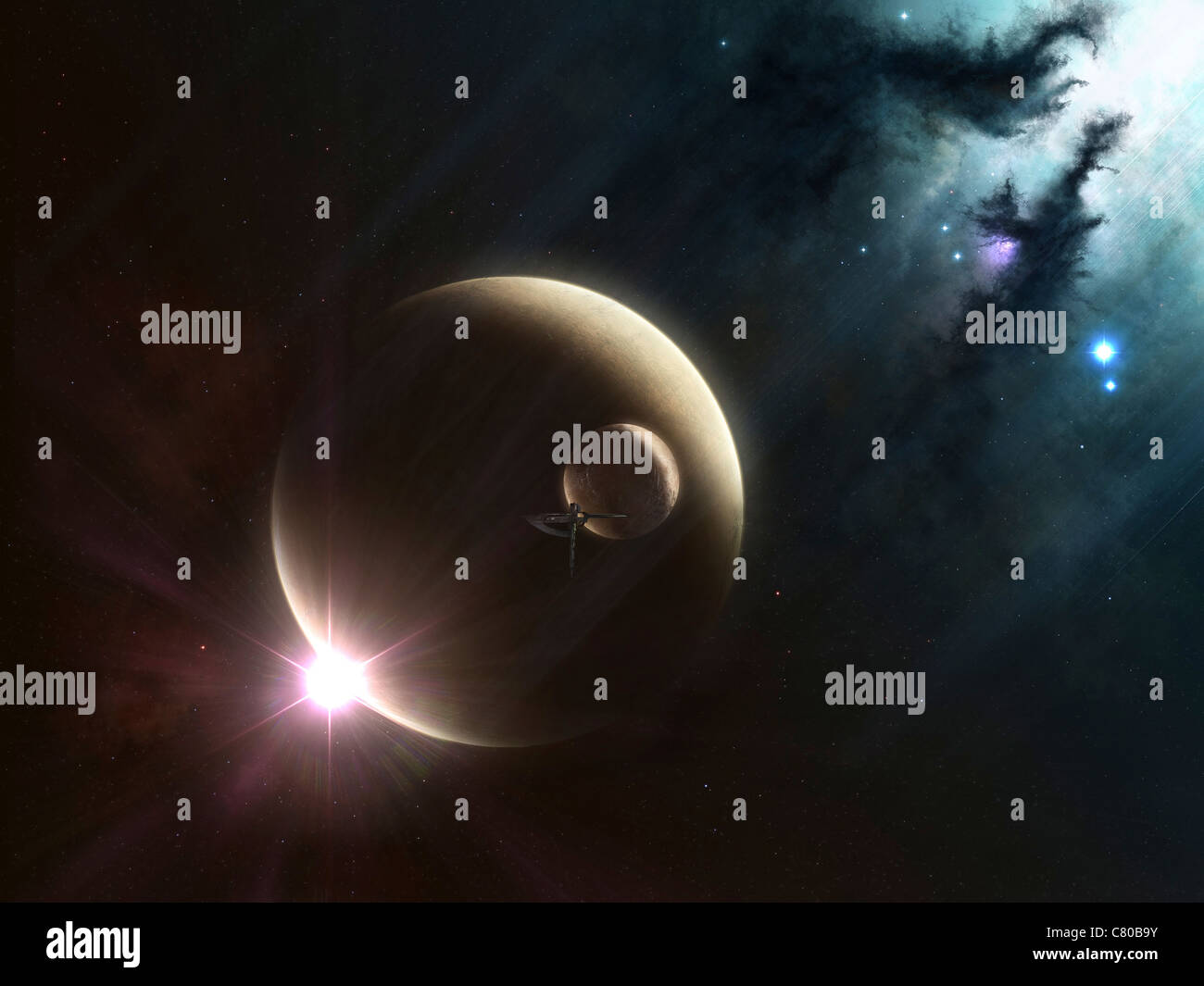 Artist's concept of two dusty moons. - Stock Image