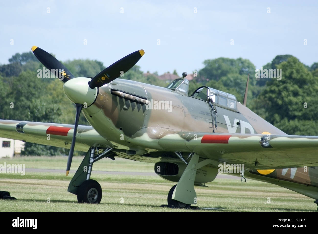 Hawker Hurricane Mark 1 single seat RAF fighter from the Battle of Britain era of world war two - Stock Image