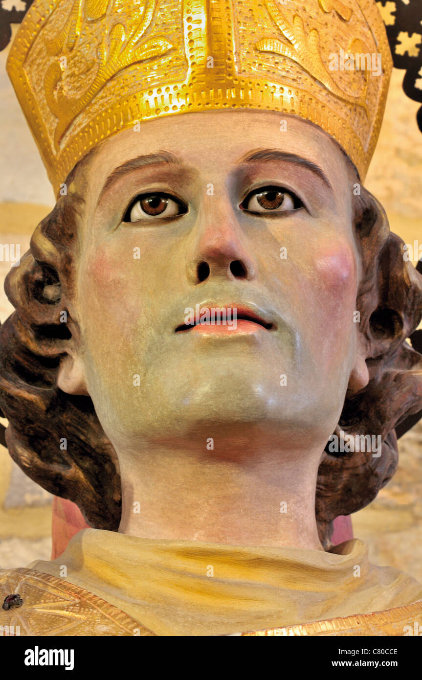 Spain, Galicia: Detail of a medieval statue of Saint Martin in the Basilica San Martin de Mondoñedo - Stock Image