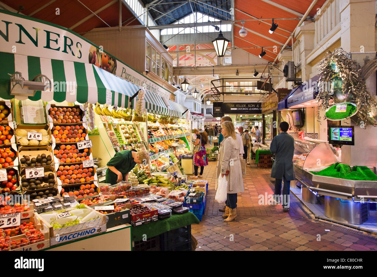Food stalls in the Covered Market, Oxford, Oxfordshire, England, UK - Stock Image