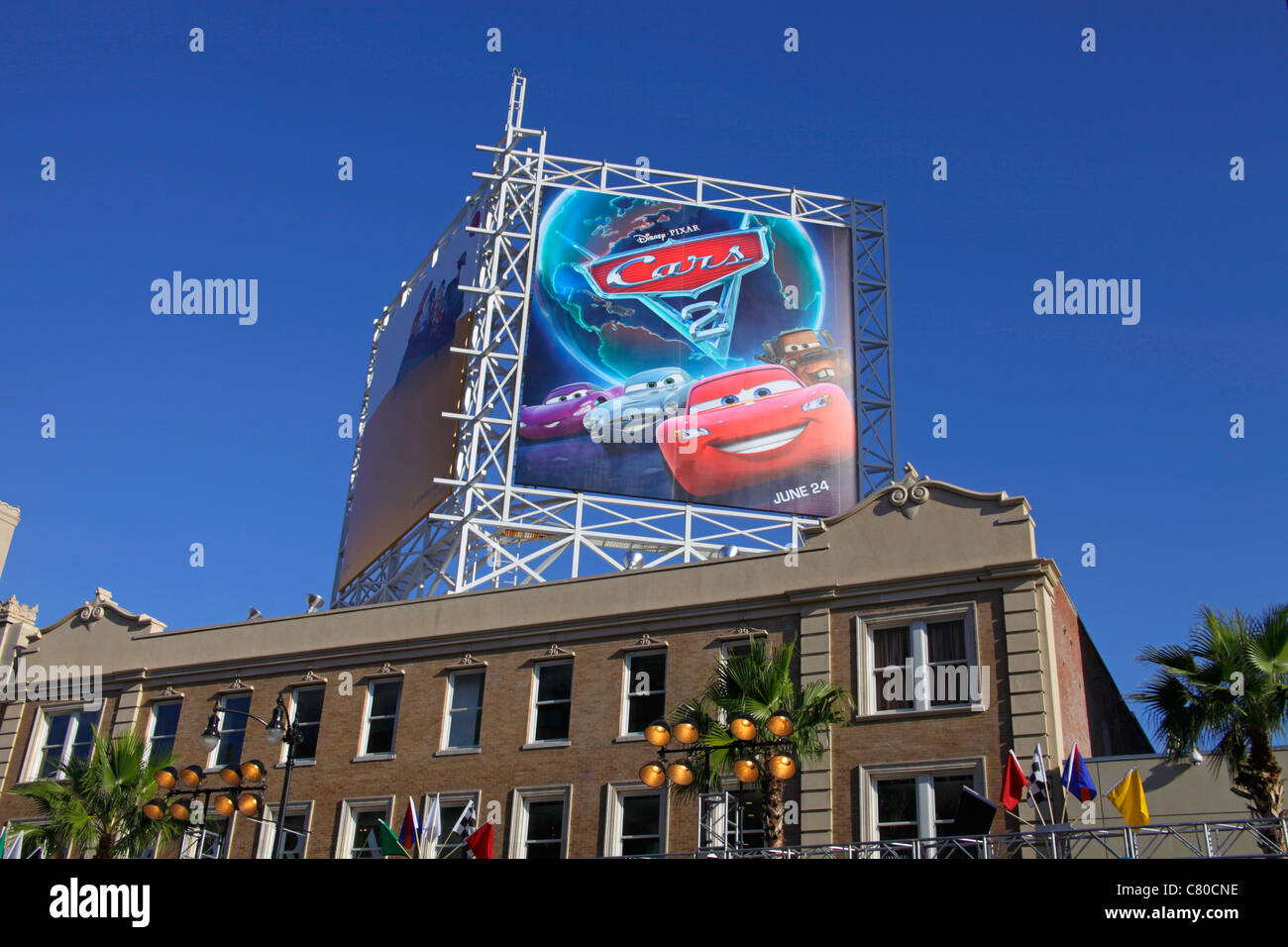 A billboard of Cars2 Hollywood Boulevard Los Angeles California USA - Stock Image