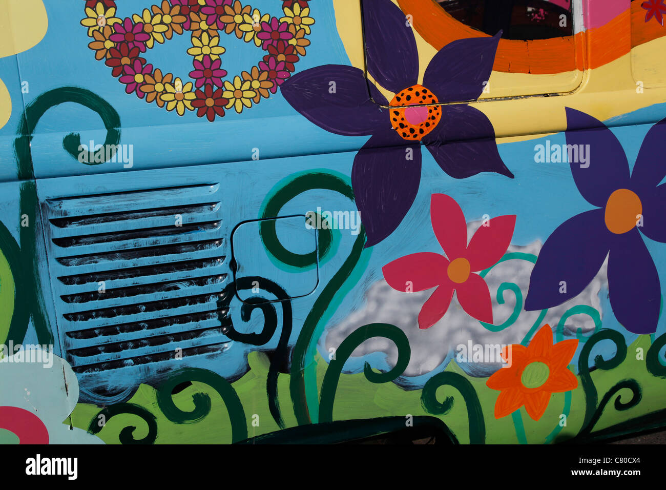Hippy decorative painting of vintage vw camper van event at