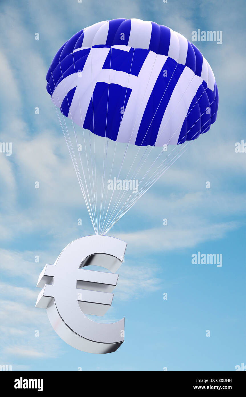 Parachute with the Greek flag on it holding a Euro currency symbol - Stock Image