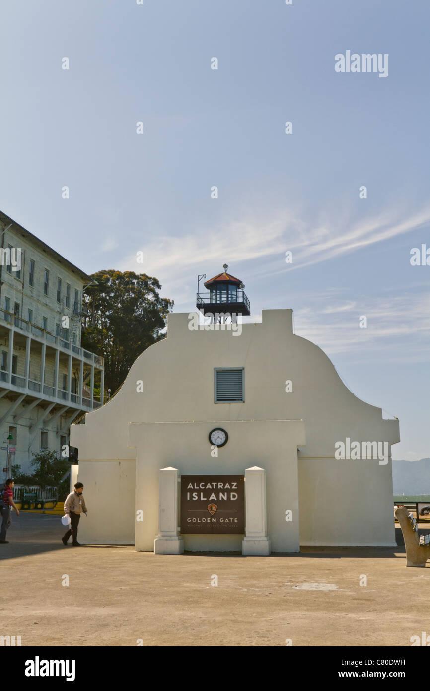 restrooms alcatraz dock - Stock Image