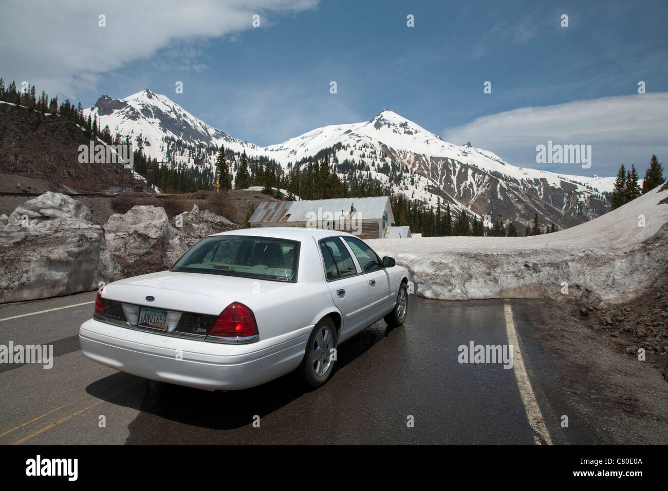 Ford Crown Victoria Car On A Road Blocked By Snow At Idarado And Yankee Girl Mines On Red Mountain Near Silverton In Colorado