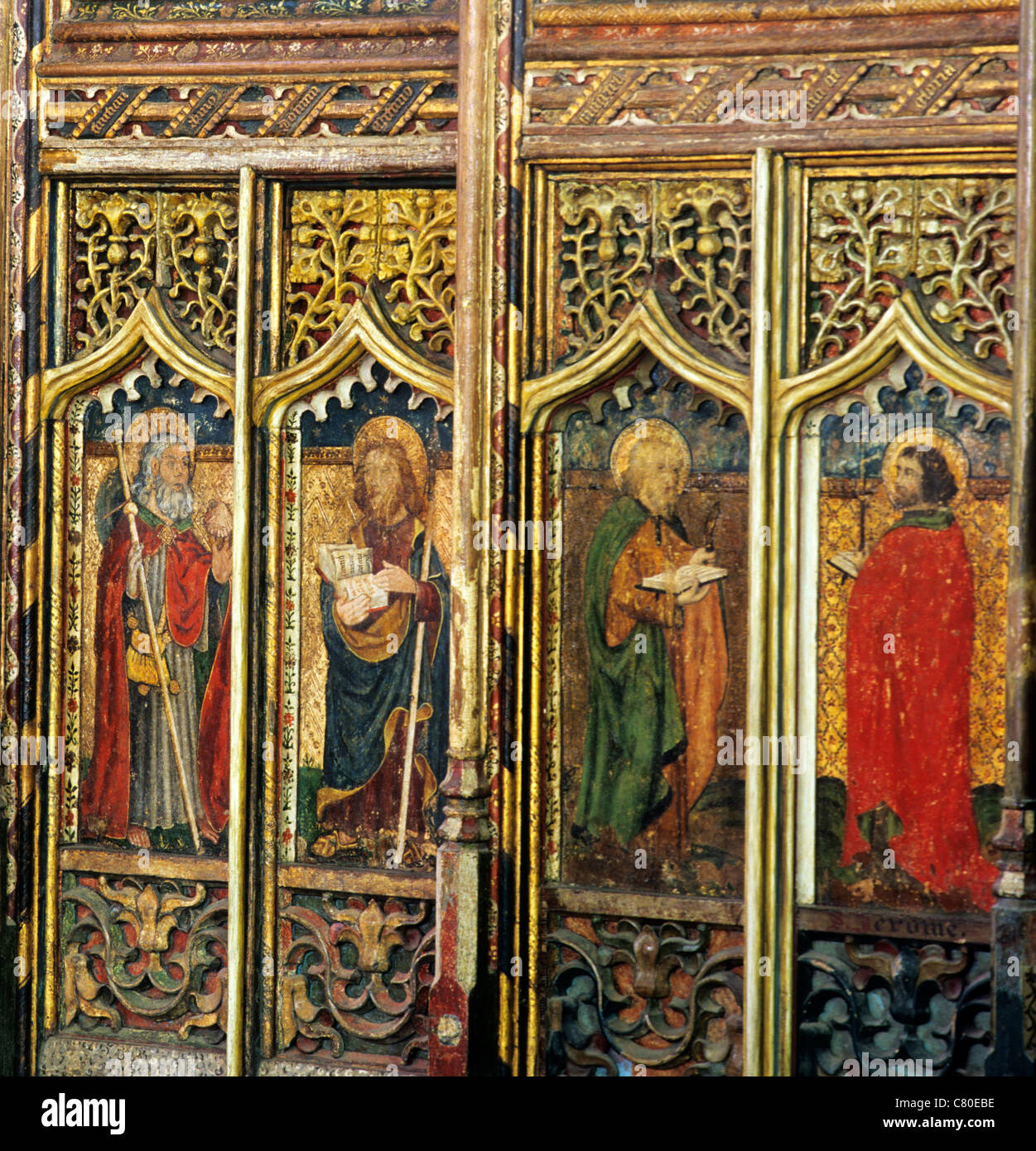 Worstead, Norfolk, rood screen, 4 panels of Apostles, St James the Greater, St.Thomas, St. Paul, English medieval - Stock Image