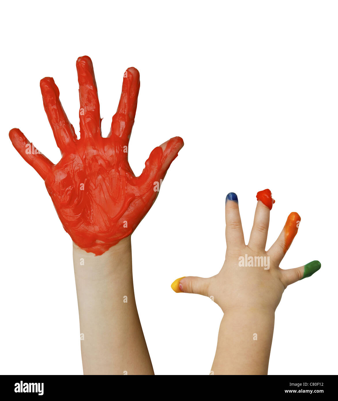Kids hands with fingerpaint isolated on white - Stock Image