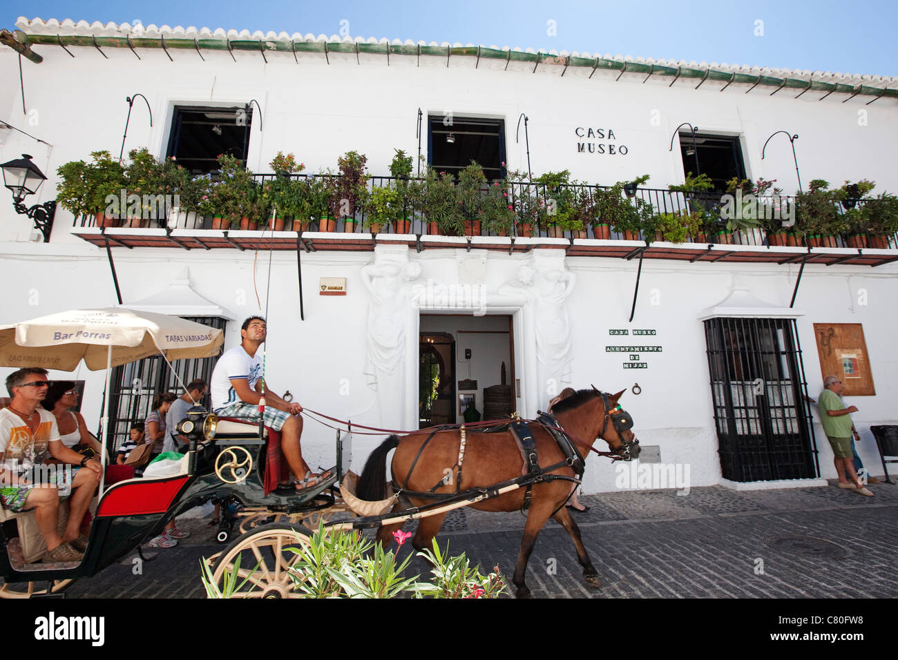 Car rides horses and Museum House Mijas Malaga Costa del Sol Andalusia Spain - Stock Image