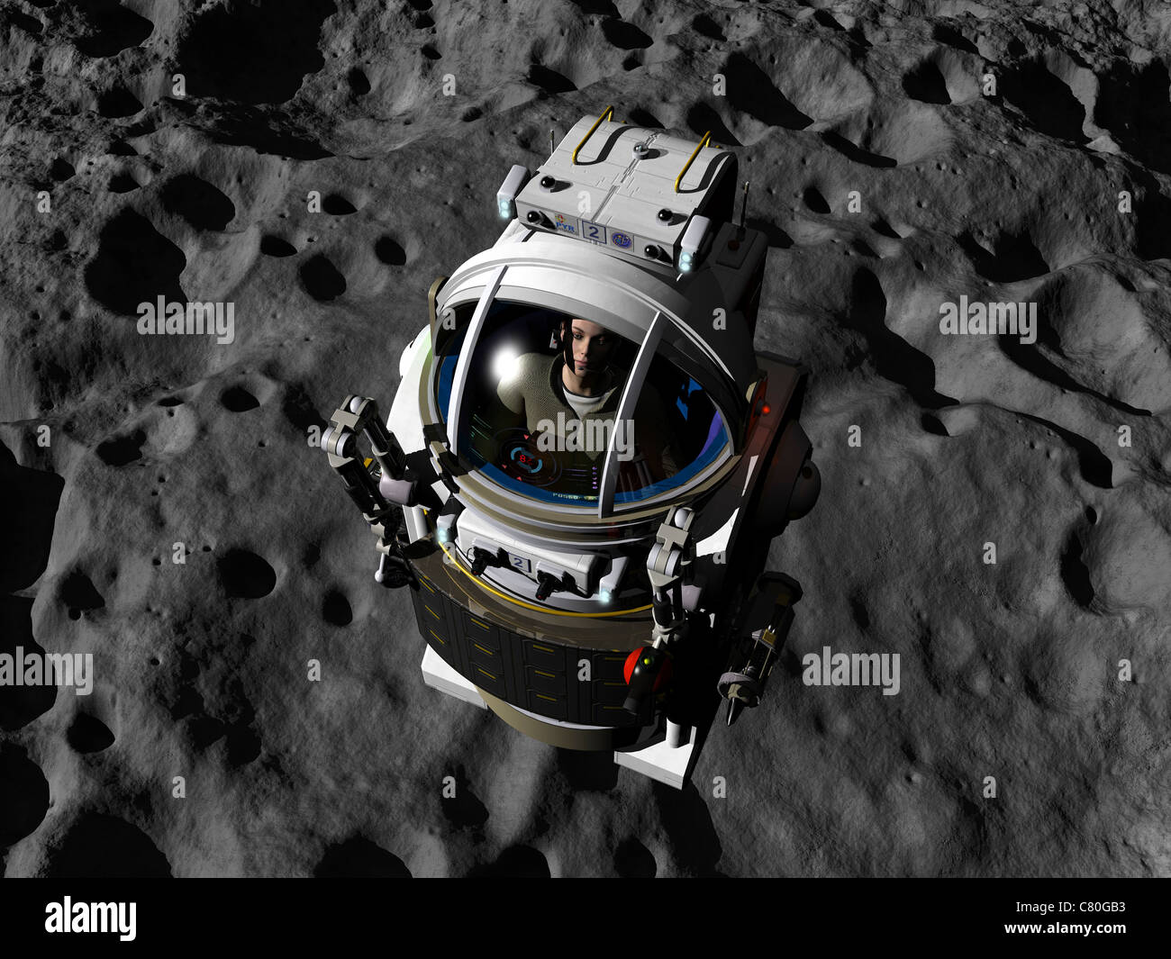 An astronaut piloting a Manned Maneuvering Vehicle above the surface of an asteroid. - Stock Image