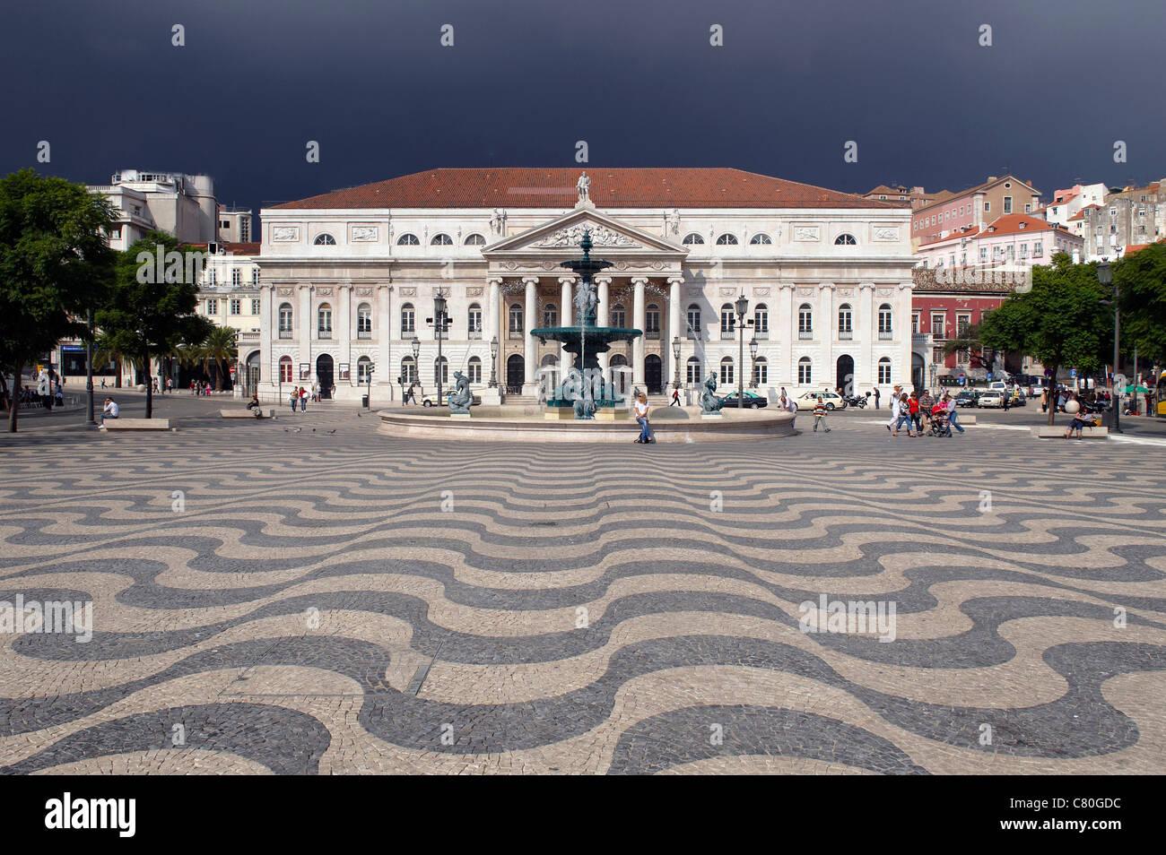 Portugal, Lisbon, Rossio Square. Dona Maria II National Theater. Stock Photo