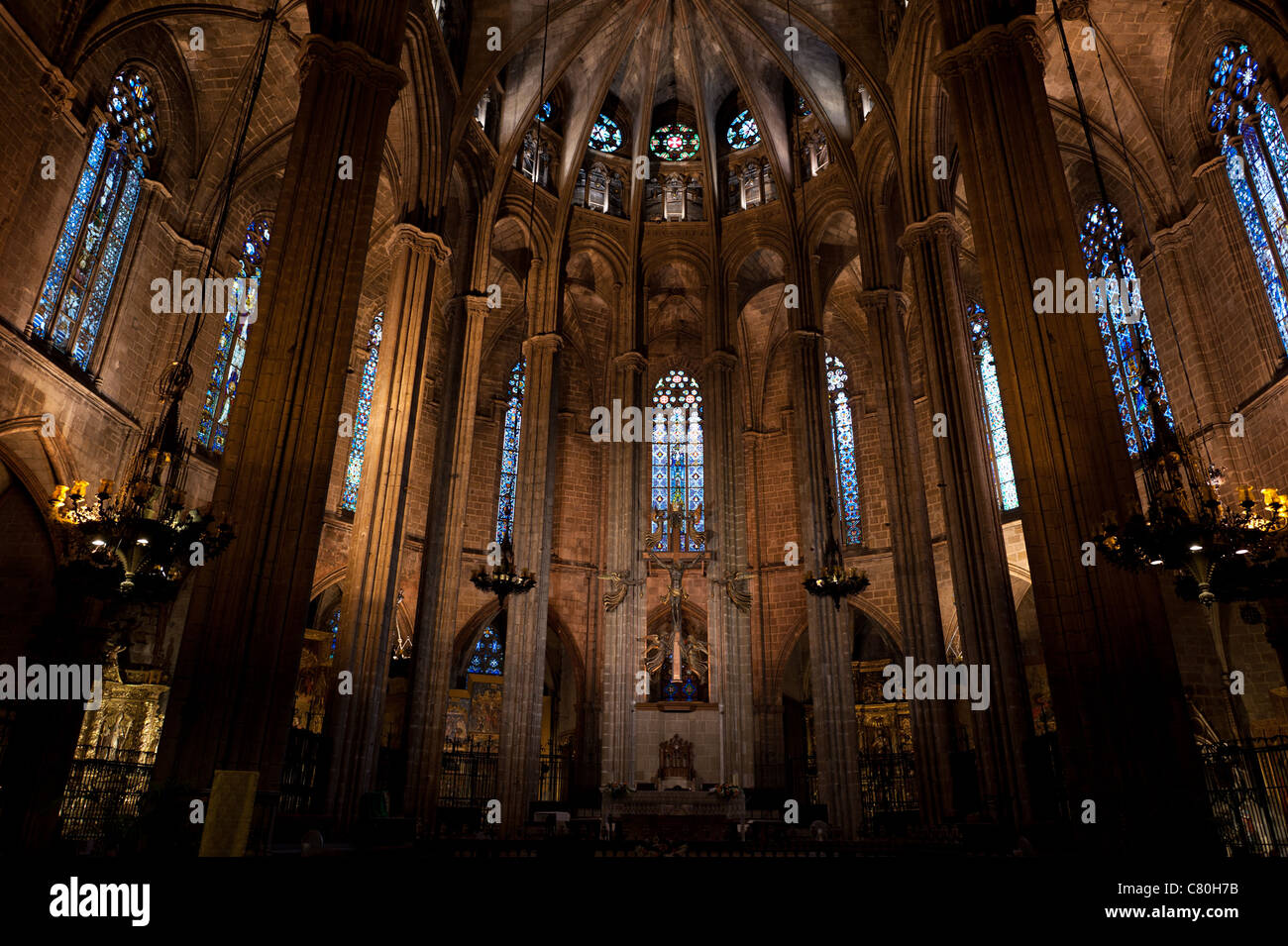 Cathedral of Santa Eulalia in Barcelona, Spain - Stock Image