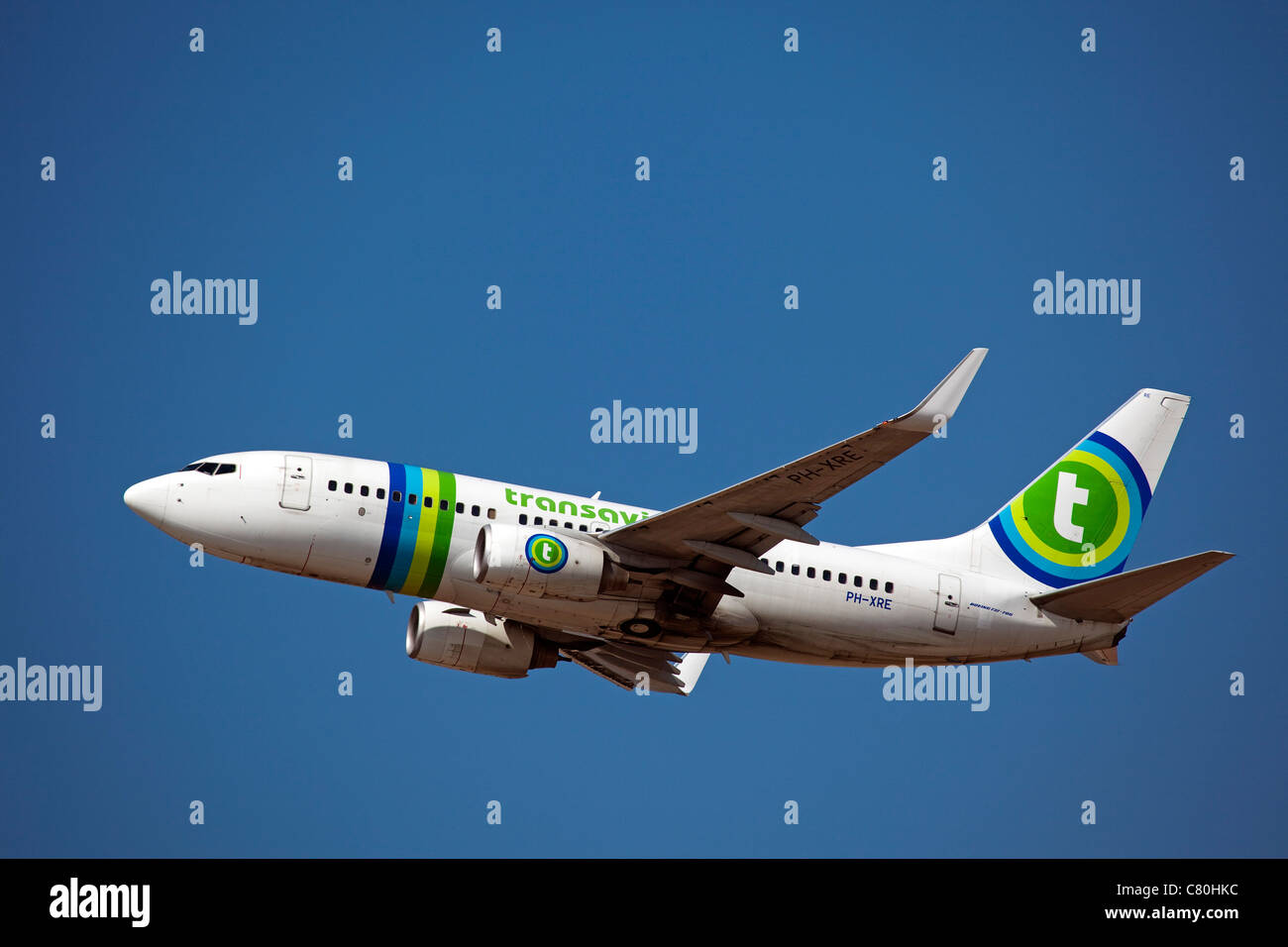 Plane taking off at the airport of Malaga Costa del Sol Andalusia Spain - Stock Image