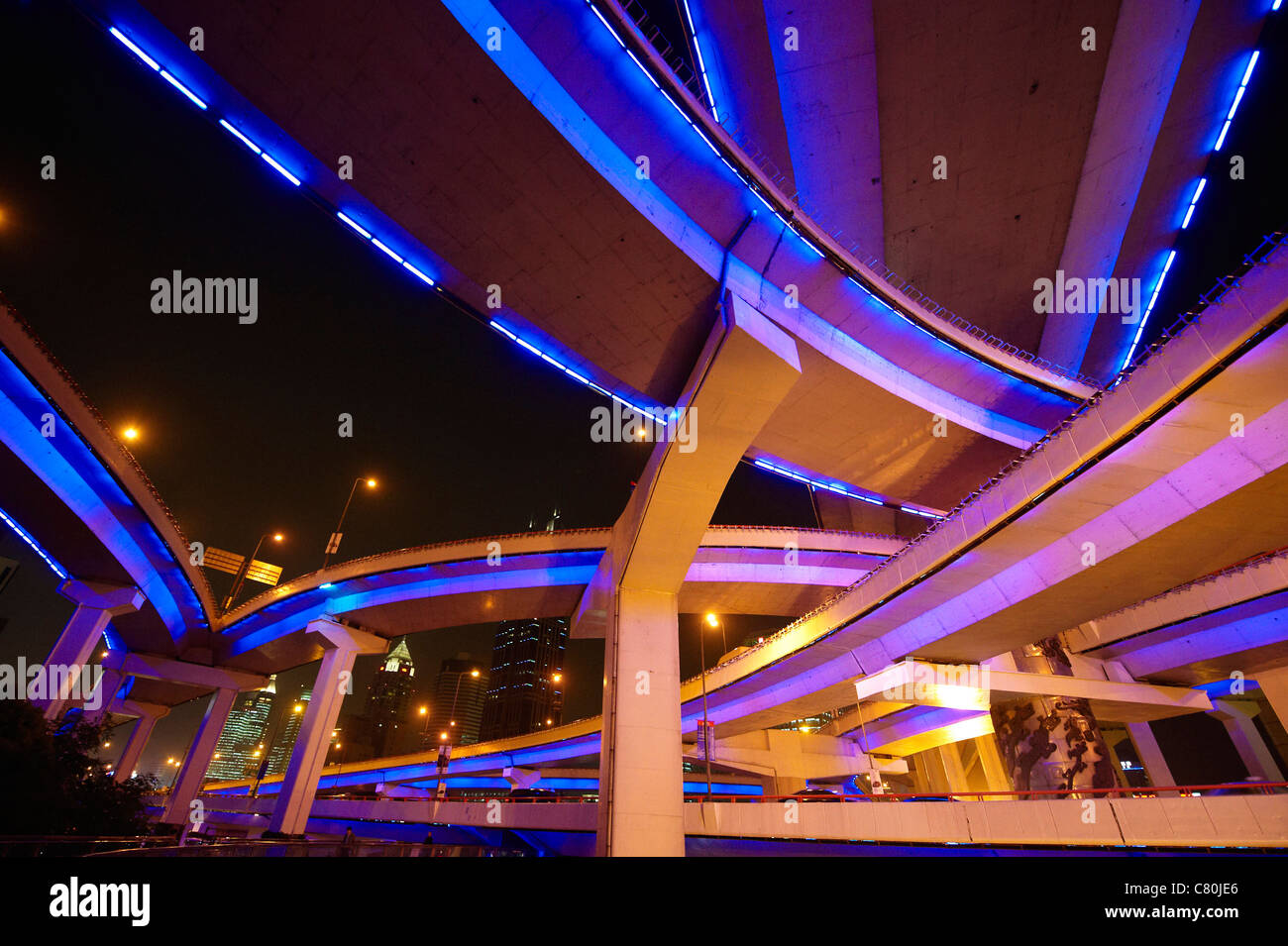 China, Shanghai, the Yannann elevated crossroad - Stock Image