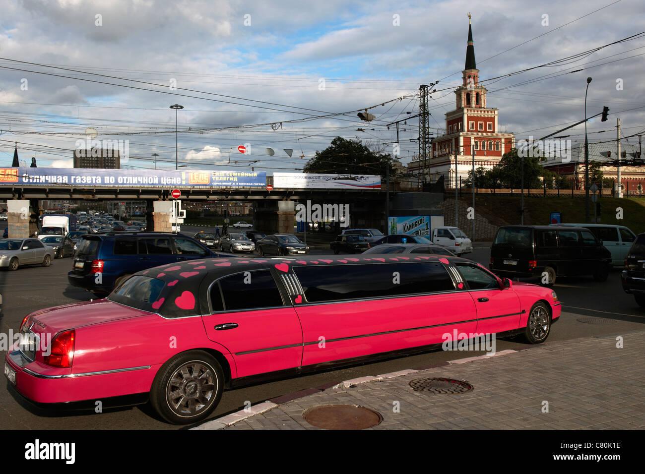 Russia, Moscow, Kazansky Train Station, Limousine Car - Stock Image