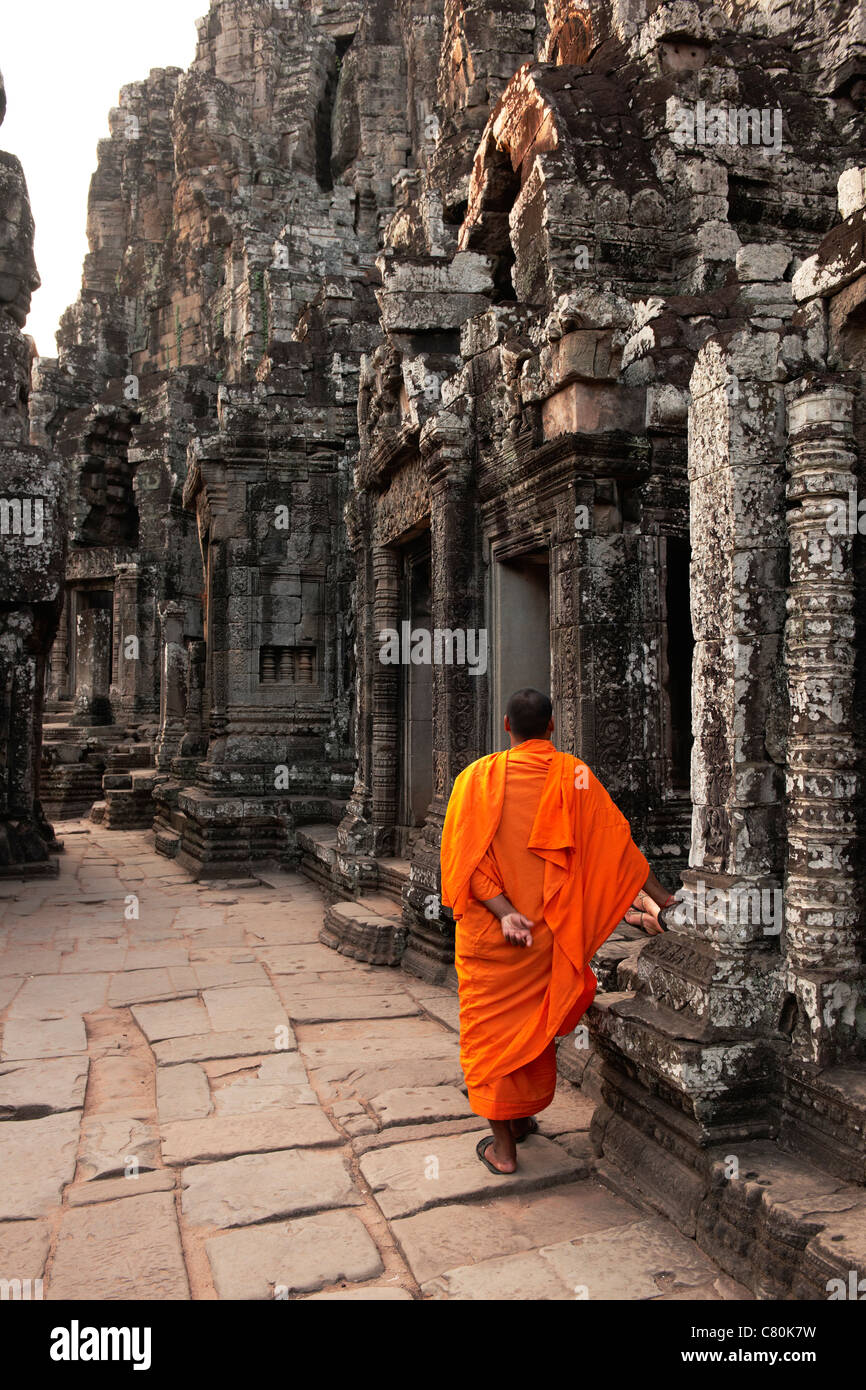 Cambodia, Siem Reap, Angkor, Buddhist Temple, Monk Stock Photo