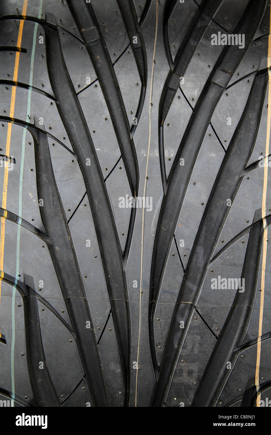 Close up of modern high performance tire tread. - Stock Image