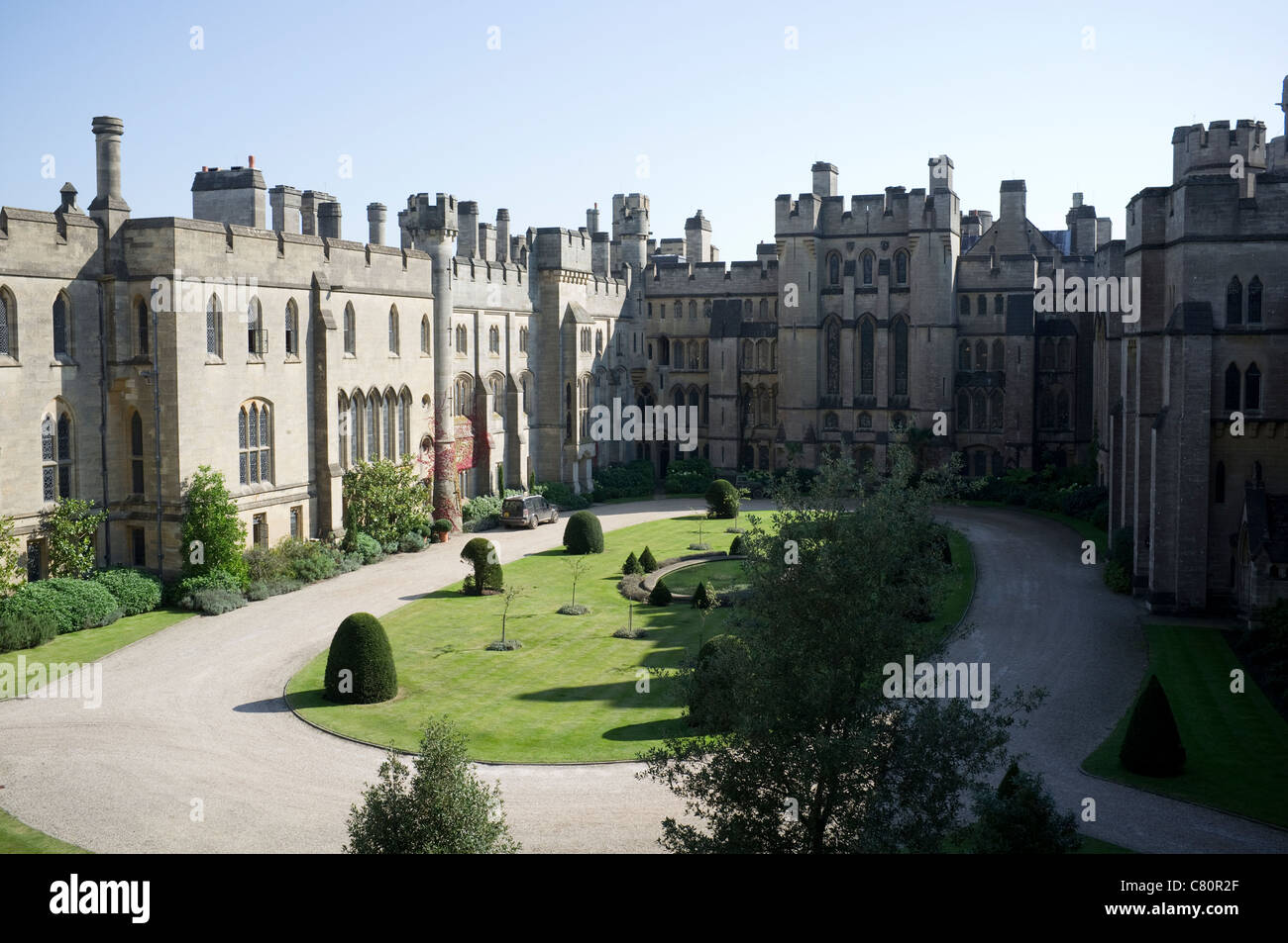 Arundel Castle Quadrangle from the Norman Keep -1 - Stock Image