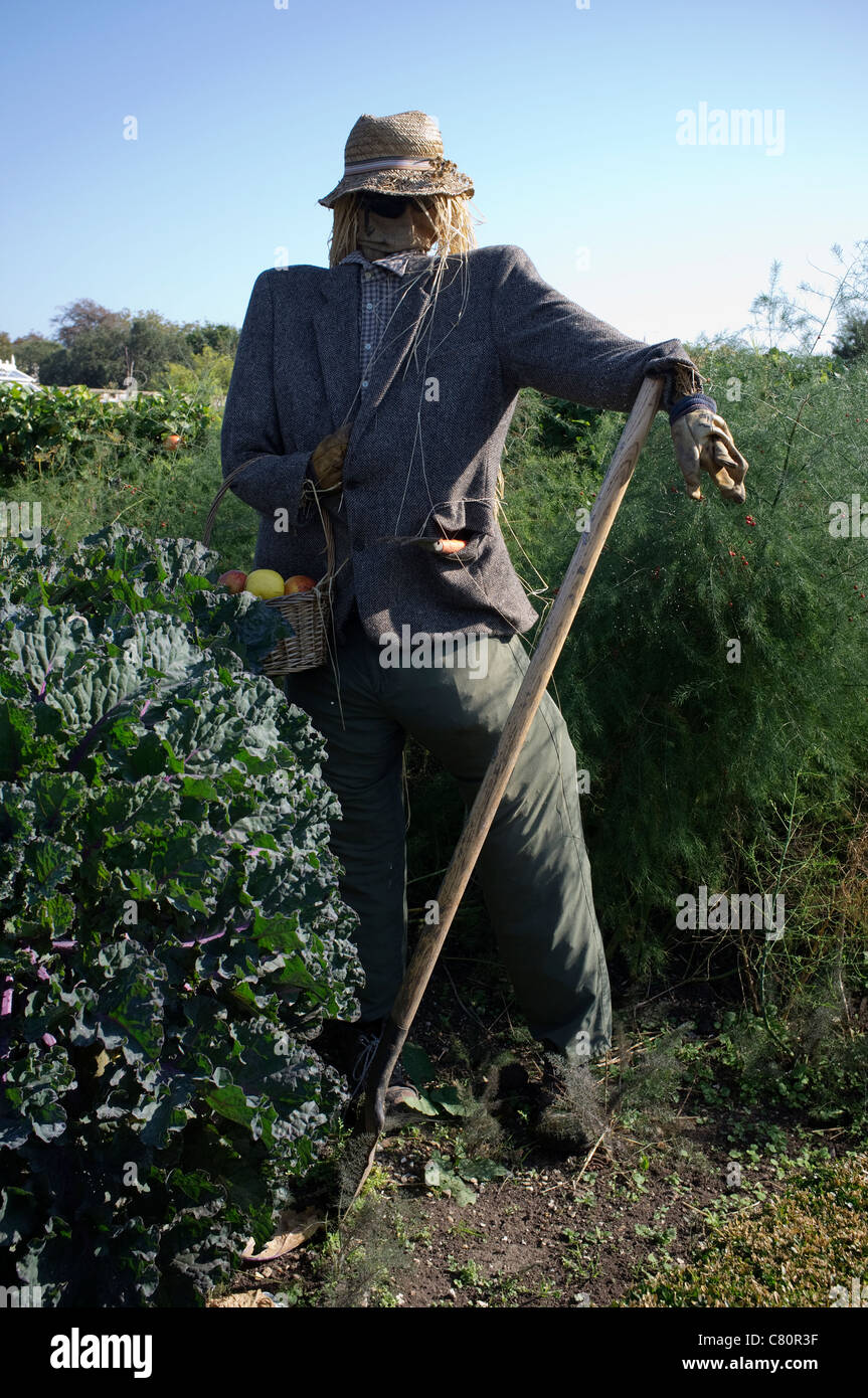 Scarecrow in the Kitchen Garden at Arundel Castle - Stock Image