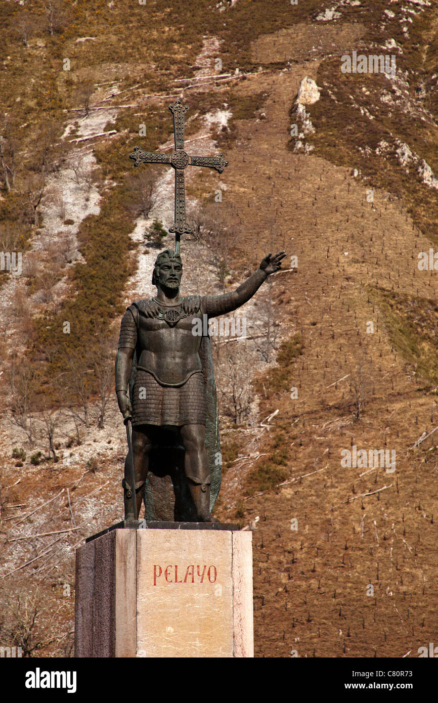 Statue of Don Pelayo Santuario de Covadonga Asturias Spain Stock Photo