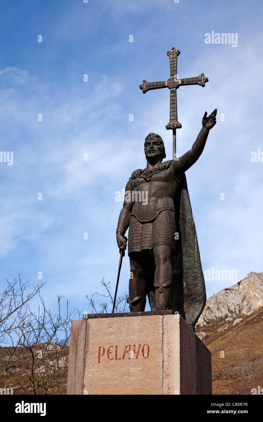 Statue of Don Pelayo Santuario de Covadonga Asturias Spain - Stock Image