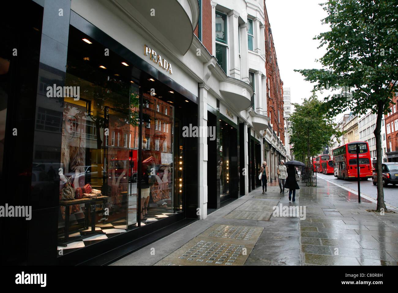 Prada shop on Sloane Street, Knightsbridge, London, UK Stock Photo